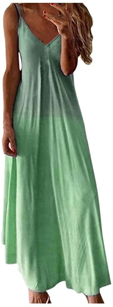 LEKODE Women Long Dress Fashion Gradient Sleeveless 2020 Boho Casual Skirt