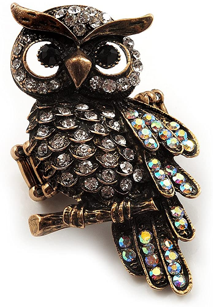Charming Clear Diamante Antique Bronze Owl Stretch Ring