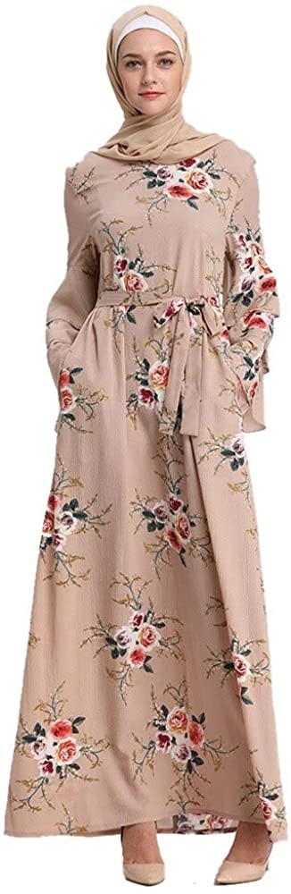 eloria Women Bell Sleeves Muslim Kaftan Arab Jilbab Abaya Islamic Maxi Dress with Drawstring Waist