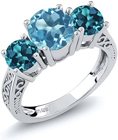 Gem Stone King 925 Sterling Silver Swiss Blue and London Blue Topaz 3-Stone Women's Ring (2.40 Cttw Available 5,6,7,8,9)