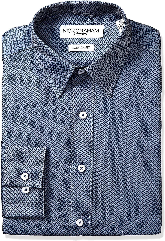 Nick Graham Everywhere Men's Alternating Neat Print Stretch Dress Shirt