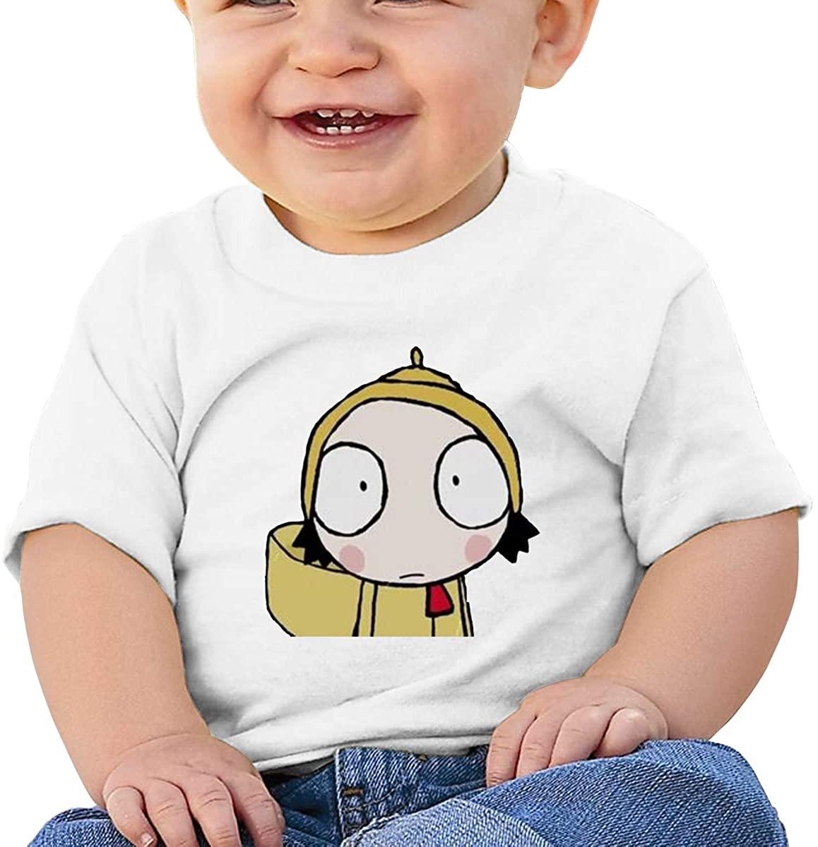 6-24 Months Boy and Girl Baby Short Sleeve T-Shirt Sarah & Duck Logo Original Minimalist Style White