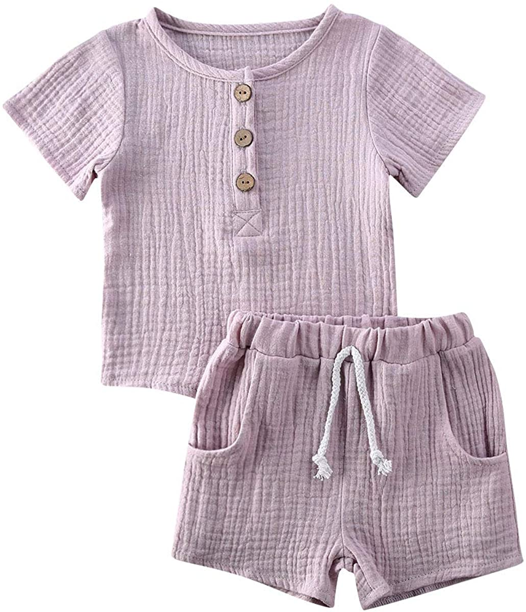 Toddler Kids Baby Boy Girl Short Outfits Cotton Linen Solid Buttons Tops+Drawstring Shorts