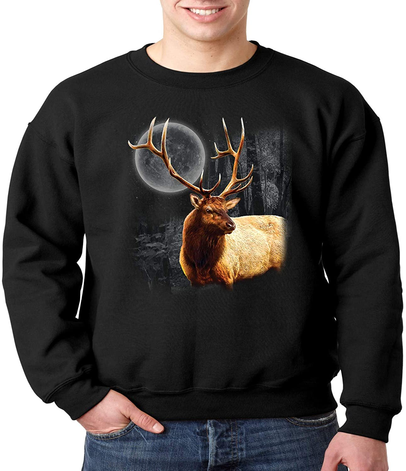 Wild Life Crewneck Sweatshirt Moon Light Elk Wilderness