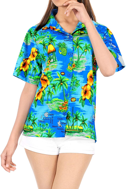 LA LEELA Women Hawaiian Shirt Beach Button Down Collar Casual Swim Party Aloha