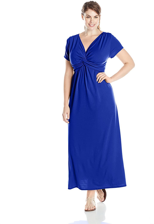Star Vixen Women's Plus-Size Short Sleeve Twist Front Maxi Dress, Royal Solid, 3X