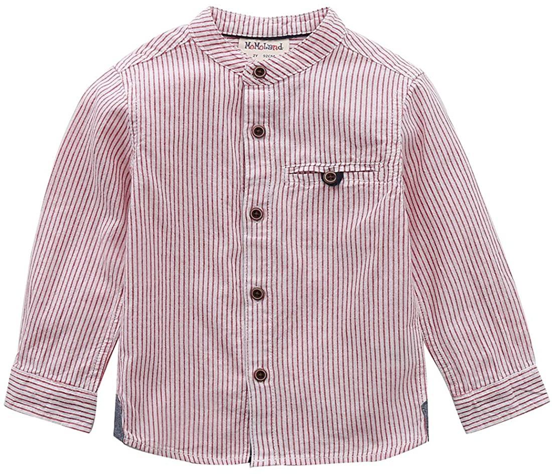 MOMOLAND Little Boys Long Sleeve Mandarin Collar Woven Button Down Shirt Linen Design White Red