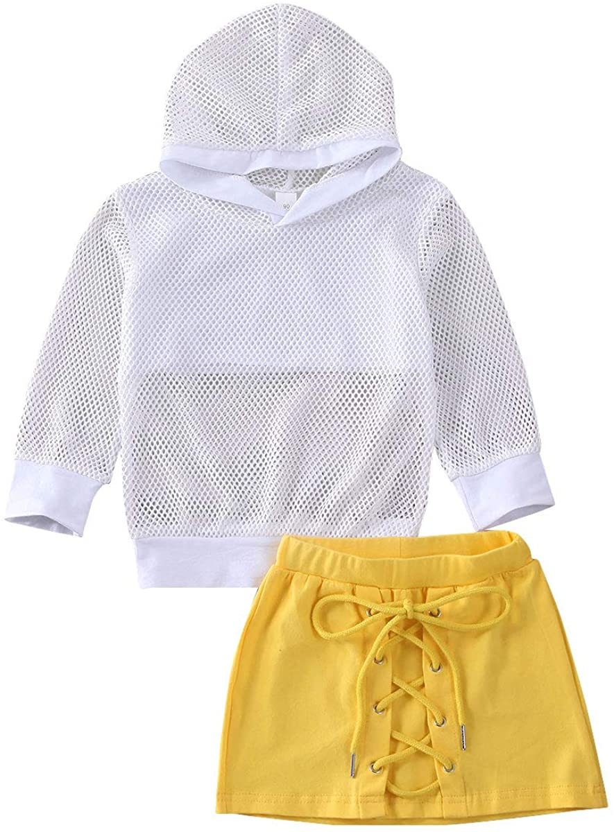 2Pc Toddler Baby Girl Skirt Set Hollow Hooded Sweatshirt Mesh Tops Lace Up Pencil Mini Skirt Spring Summer Clothes Outfits