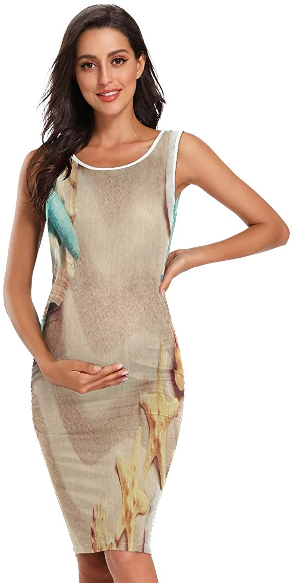 SLHFPX Summer Beach Starfish Shell Sand Womens Maternity Dresses Casual Pregnancy Dresses Bodycon Midi Summer