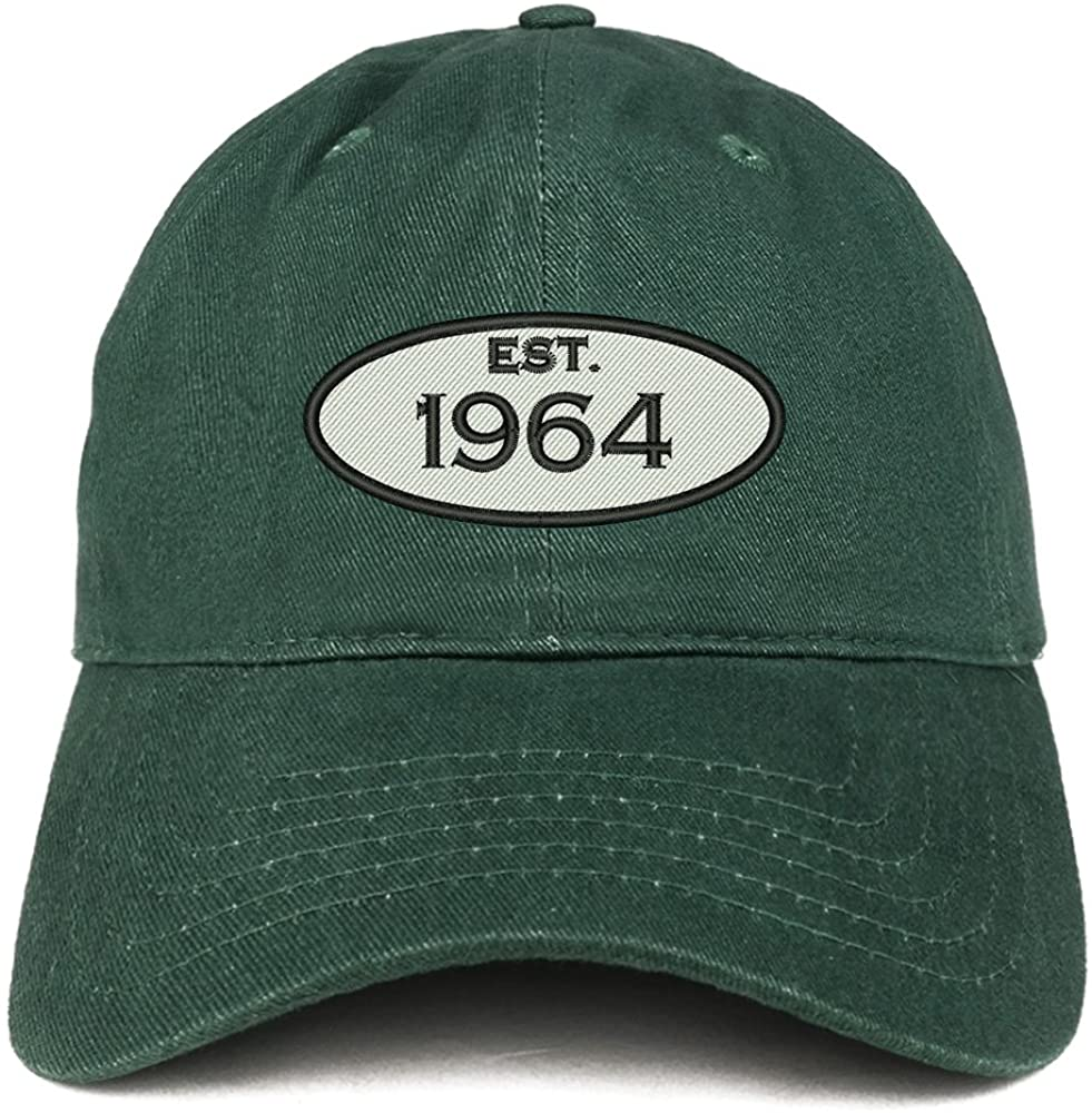 Trendy Apparel Shop Established 1964 Embroidered 56th Birthday Gift Soft Crown Cotton Cap