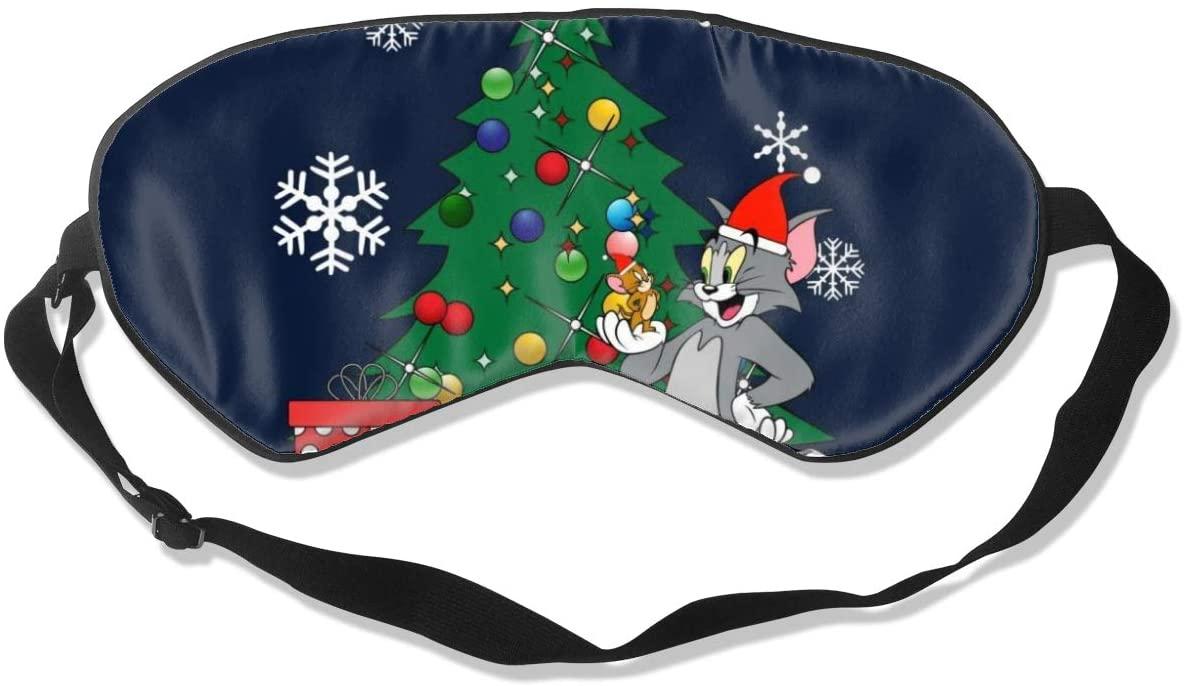 Sleeping Mask 100% Blackout,Tom and Jerry Around The Christmas Tree Sleep Mask,Night Masks,Super-Smooth Eye Mask