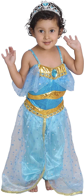 Jasmine Costume Princess Full Set with Tiara Size T S M L 2 3 4 5 6 7 8 9