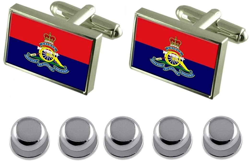 Select Gifts Shirt Dress Studs Royal Artillery Regiment Military England Flag Cufflinks