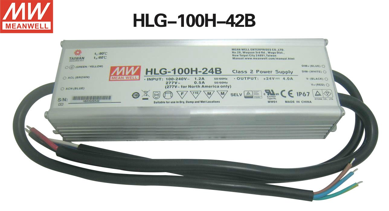 MEAN WELL dimmable LED driver HLG-100H-42B 100W 2.28A 42V Power Supply for LED lighting