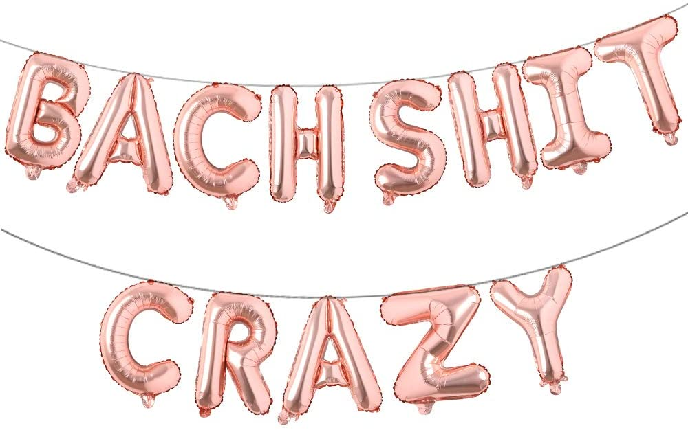 16 inch Bachelorette Party Decorations Bach Shit Crazy Balloons Banner for Hen Party Bridal Shower Engagement Party Decorations (Rose Gold)