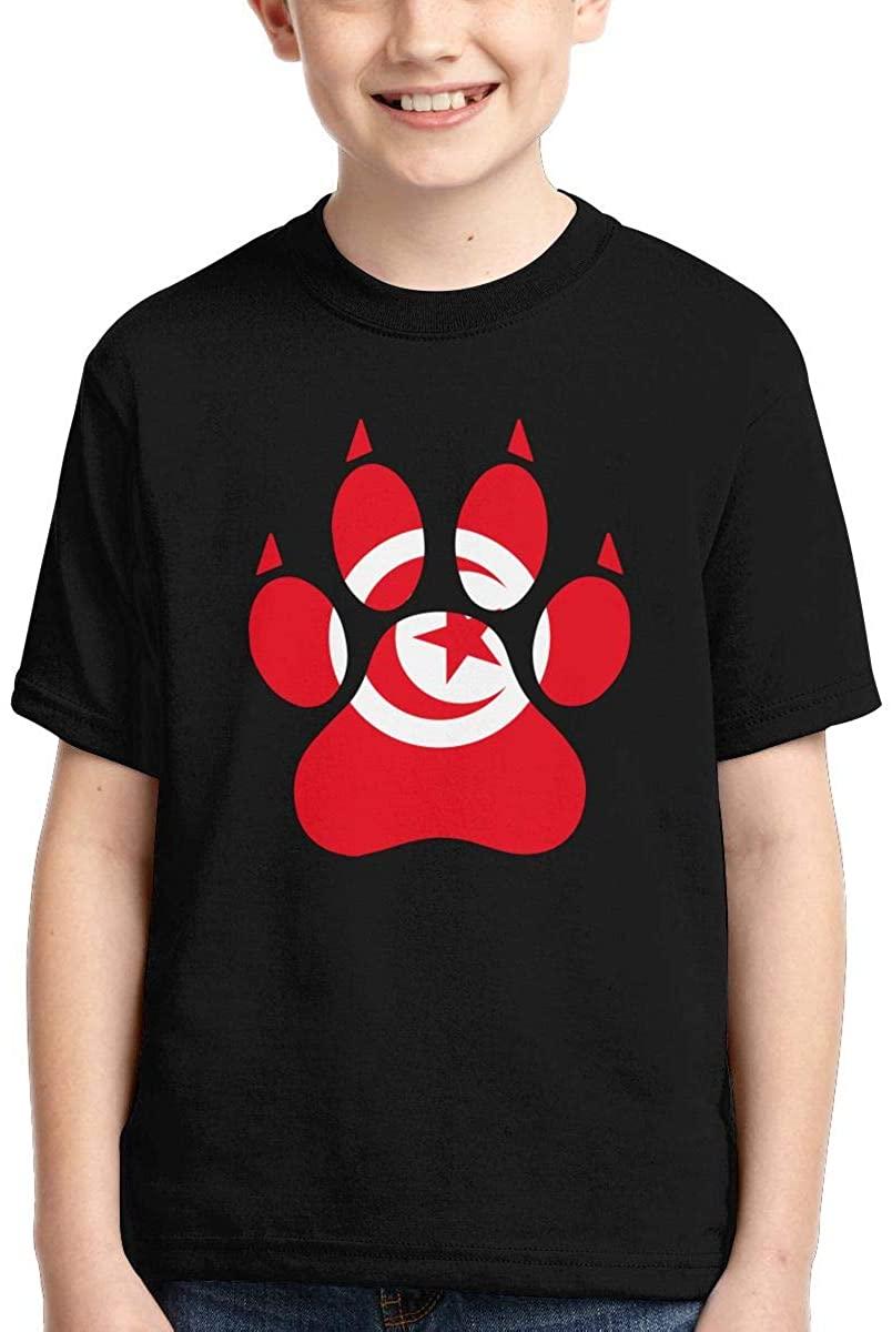 Kids' Short-Sleeve Tunisia Flag Dog Paw T-Shirts, Fashion Tunic Tops