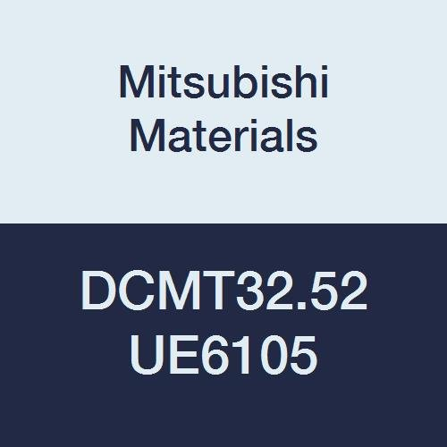 Mitsubishi Materials DCMT32.52 UE6105 CVD Coated Carbide DC Type Positive Turning Insert with Hole, Rhombic 55°, 0.375