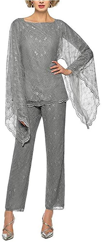 Women's Grey Formal Mother of The Bride Dress Pant Suits 3 Pieces Chiffon Lace Outfit for Wedding Grooms Plus Size US2