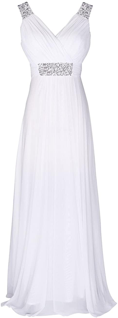 Conail Coco Women Ruched Waist Rhinestone Casual Tulle Semi-Formal Long Wedding Bridesmaid Dress