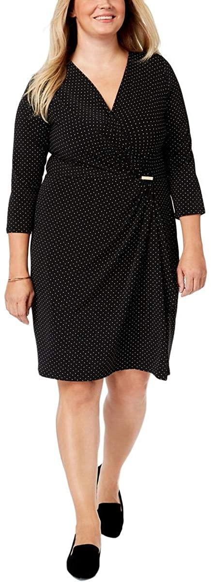 Charter Club Womens Plus Polka Dot Surplice Neck Wrap Dress