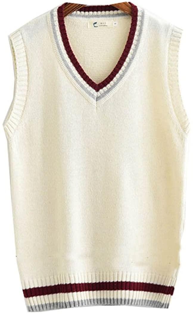 Dream-Store College Men's High School Boys Sweater Vest School Vest V-Neck Uniforms