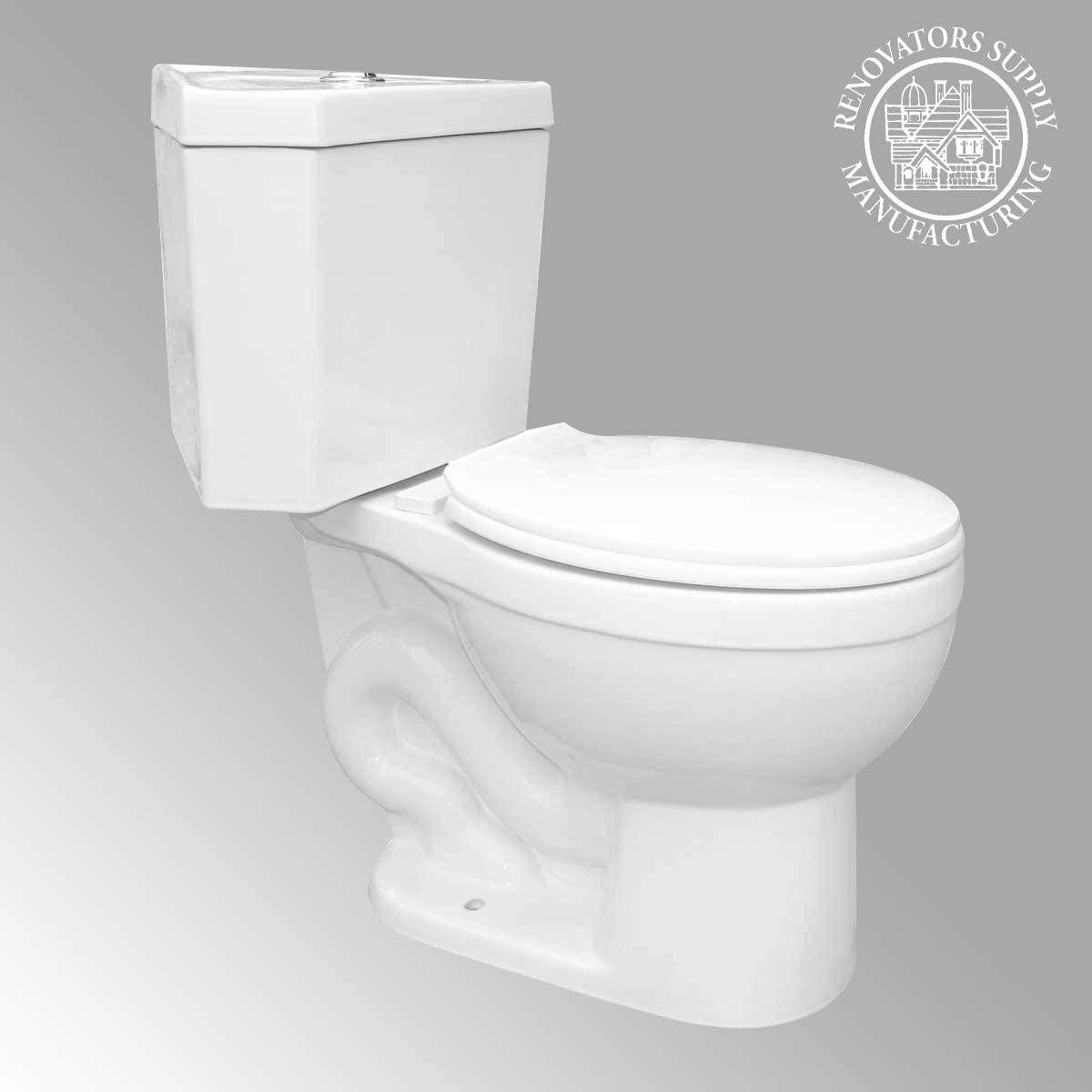 Troyt Corner 2-Piece Round Bathroom Toilet 0.8/1.6 GPF Hi Low Button Flush WATERSENSE Heavy Duty Porcelain Includes Slow Close Toilet Seat Renovators Supply Manufacturing