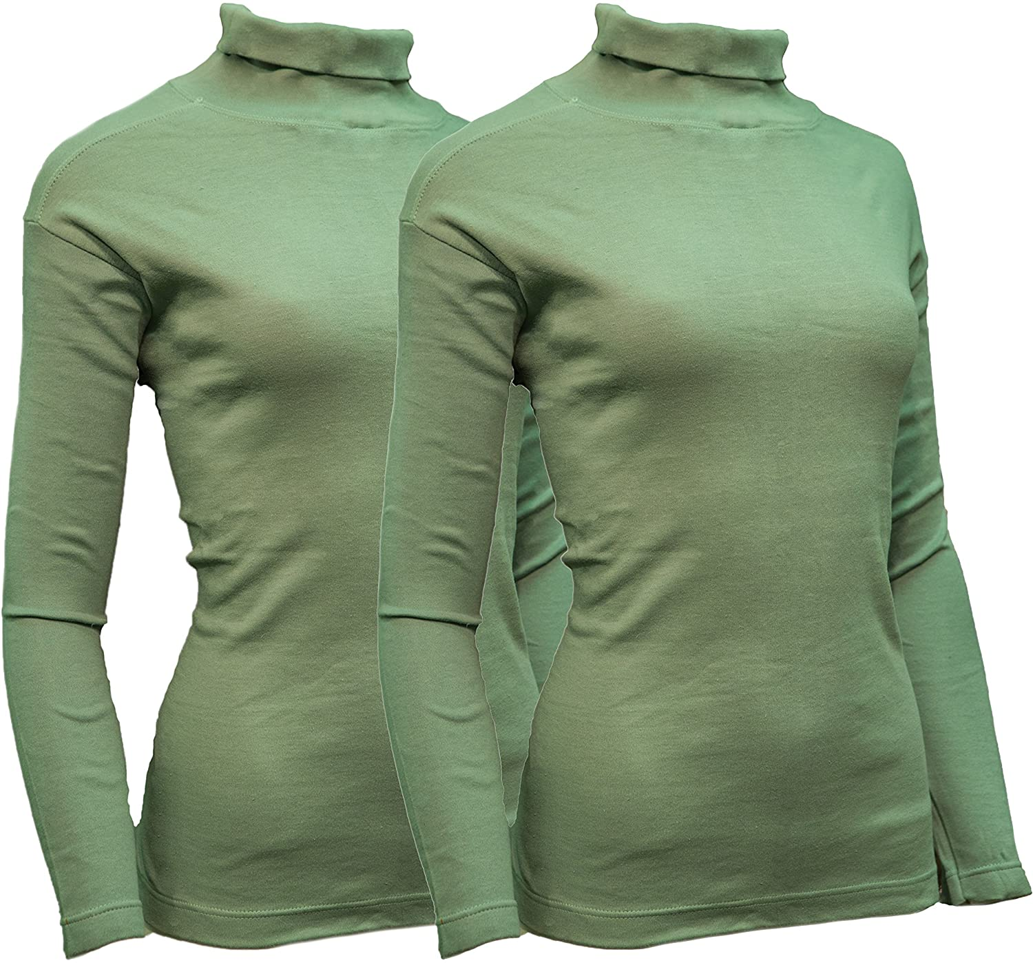 Sexy Basics Women's 2 Pack Long Sleeve Mid Weight Turtleneck Top Plus Size