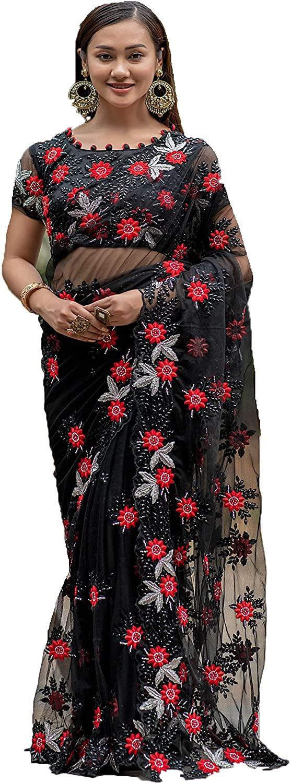 Black Bridal Wedding Women Pure Net Sari Indian Pearl Embellished Designer Saree Blouse Eid Muslim My