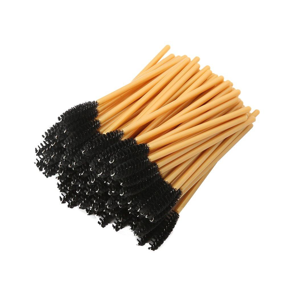 Shintop 100pcs Disposable Eyelash Brushes, Eyelash Mascara Wands Makeup Applicators (Gold)