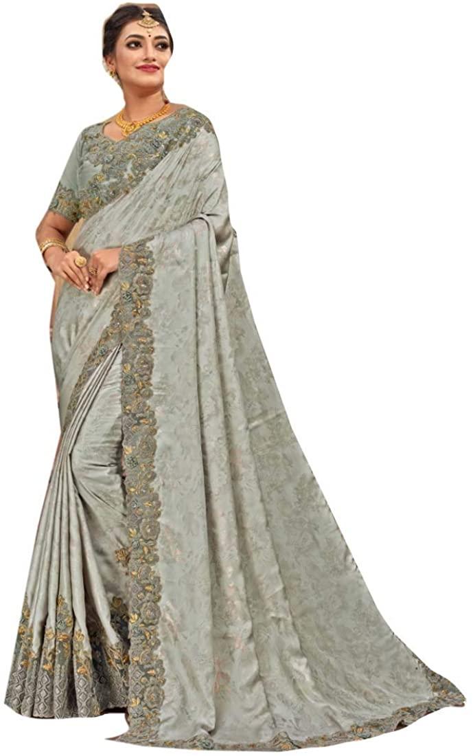 Grey Wedding Eid Party Wear Heavy Embroidery Satin Georgette Indian Saree Sari Blouse Muslim Dress 9861B
