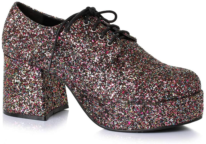 Platform Black Glitter Disco Shoe With 3 In Heel For Men Medium