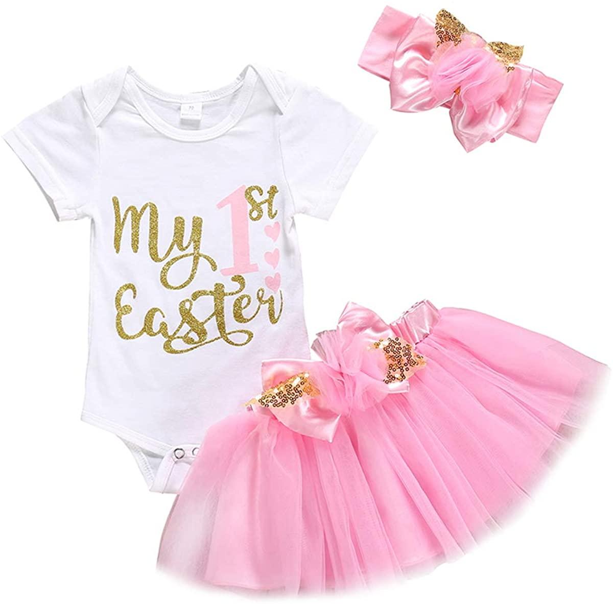 My 1st Easter Toddler Baby Girls Skirt Set Short Sleeve Romper + Tutu Dress with Headband Rabbit Outfit