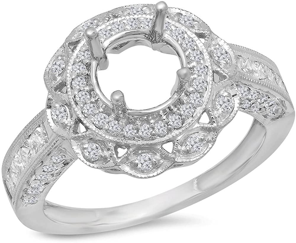 Dazzlingrock Collection 1.00 Carat (Ctw) 14k Round Diamond Semi Mount Round Diamond Engagement Ring (No Center Stone), White Gold