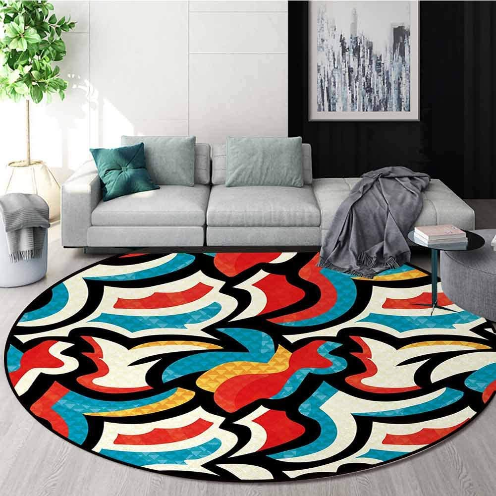 Psychedelic Non-Slip Area Rug Pad Round,Graffiti Inspired Street Art Style Pattern Retro Decorations Modern Teen Room Urban Protect Floors While Securing Rug Making Vacuuming Round-59 Inch,Multi
