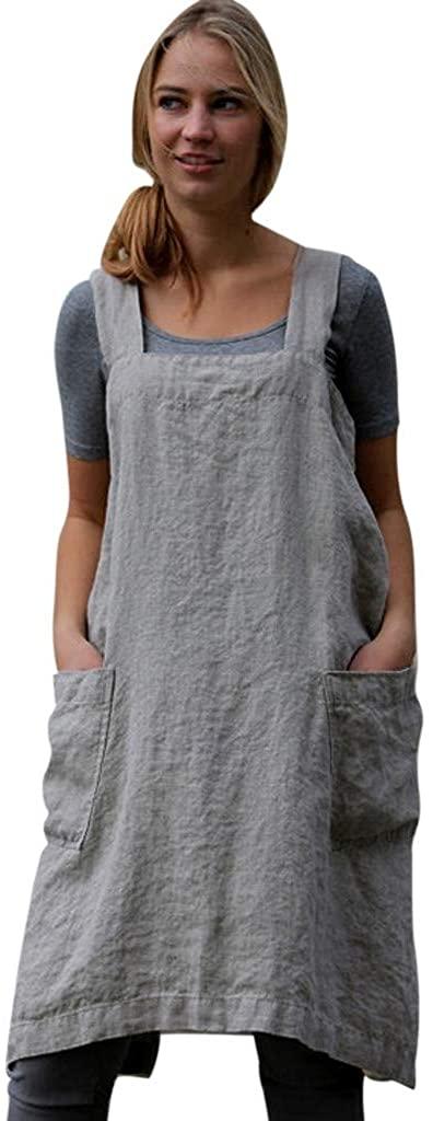 Women Dress Fitfulvan Cotton Linen Pinafore Square Cross Apron Garden Work Pinafore Dress