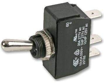 26-2075 - Toggle Switch, On-Off, SPST, Non Illuminated, 20 A, Panel Mount, (Pack of 20)
