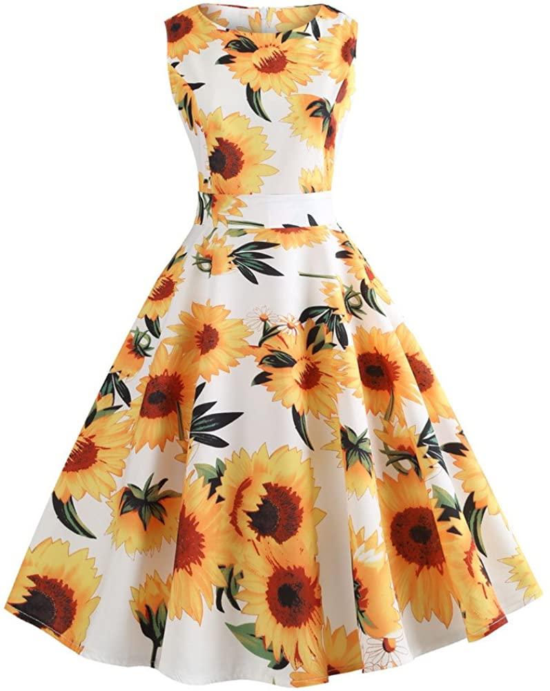 Vintage Dresses for Women, Retro Sunflower Print Sleeveless Tea Evening Party Short Dress