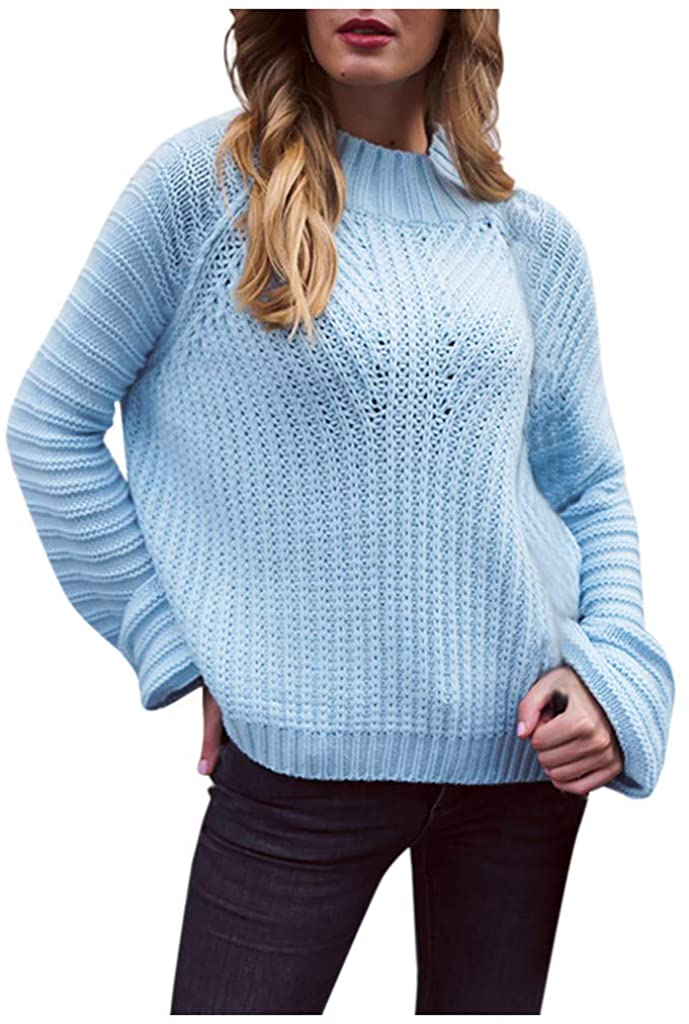 Soluo Athletic Maternity shirtsWomen's Loose Solid Color Round Neck Long Sleeve Sweater
