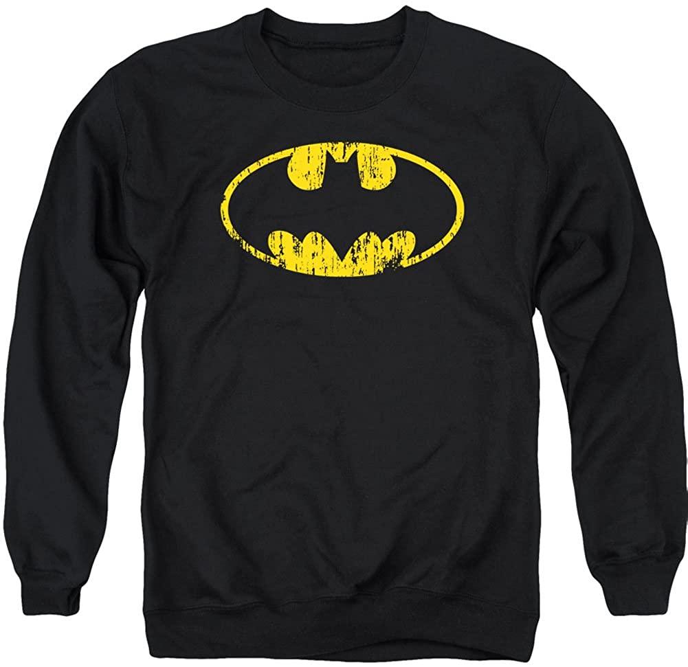 BATMAN Men's Classic Logo Distressed Sweatshirt Black