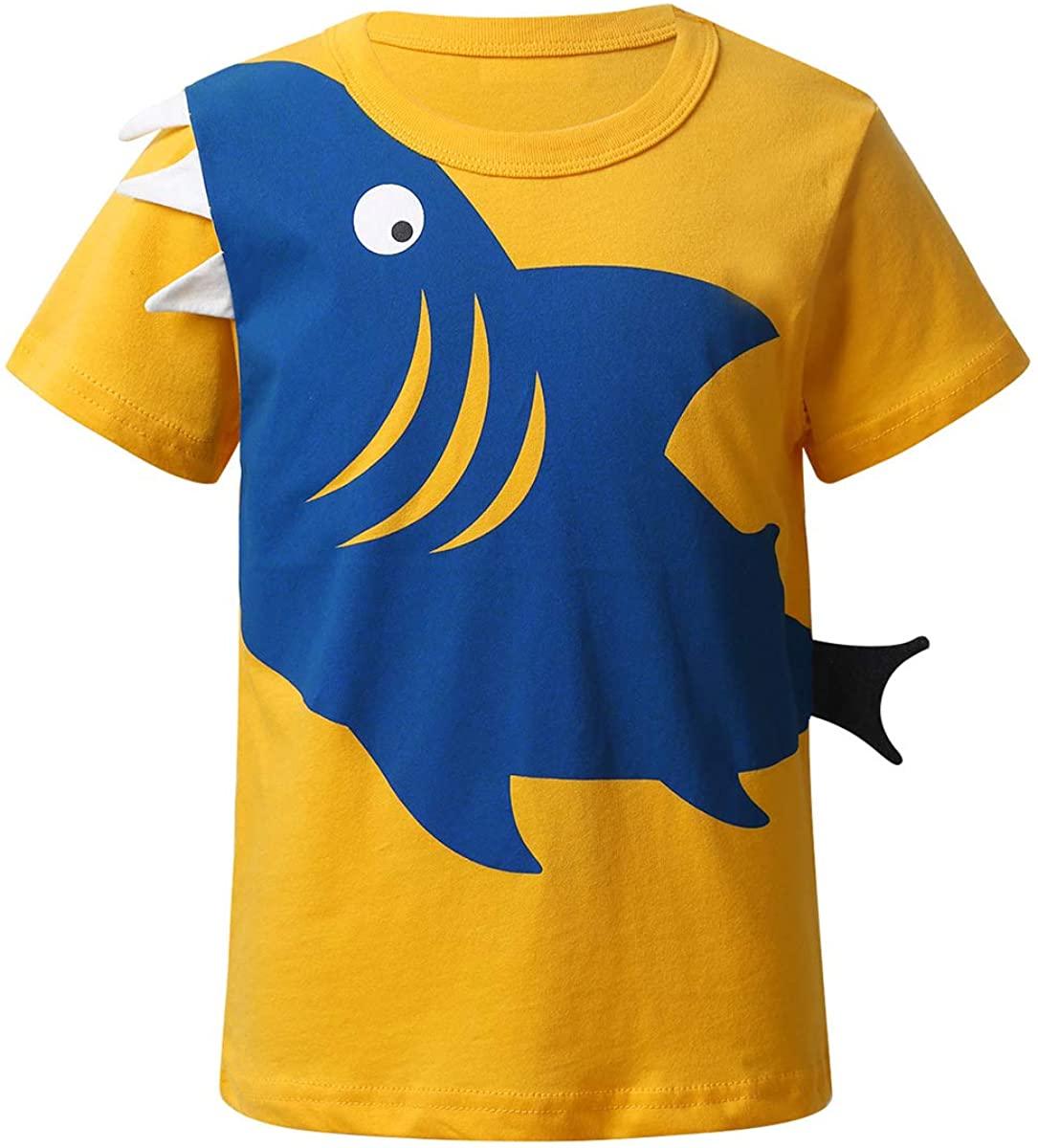 Kaerm Kids Boys Short Sleeves Shark Casual Wear Party Tees Summer Sport Shirt Class Uniform