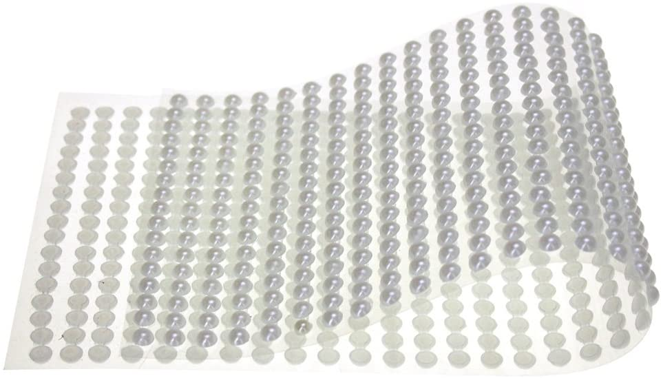 Homeford Plastic Pearls Flat Bead Self Adhesive Stickers, 5mm, 38-Strips (White)