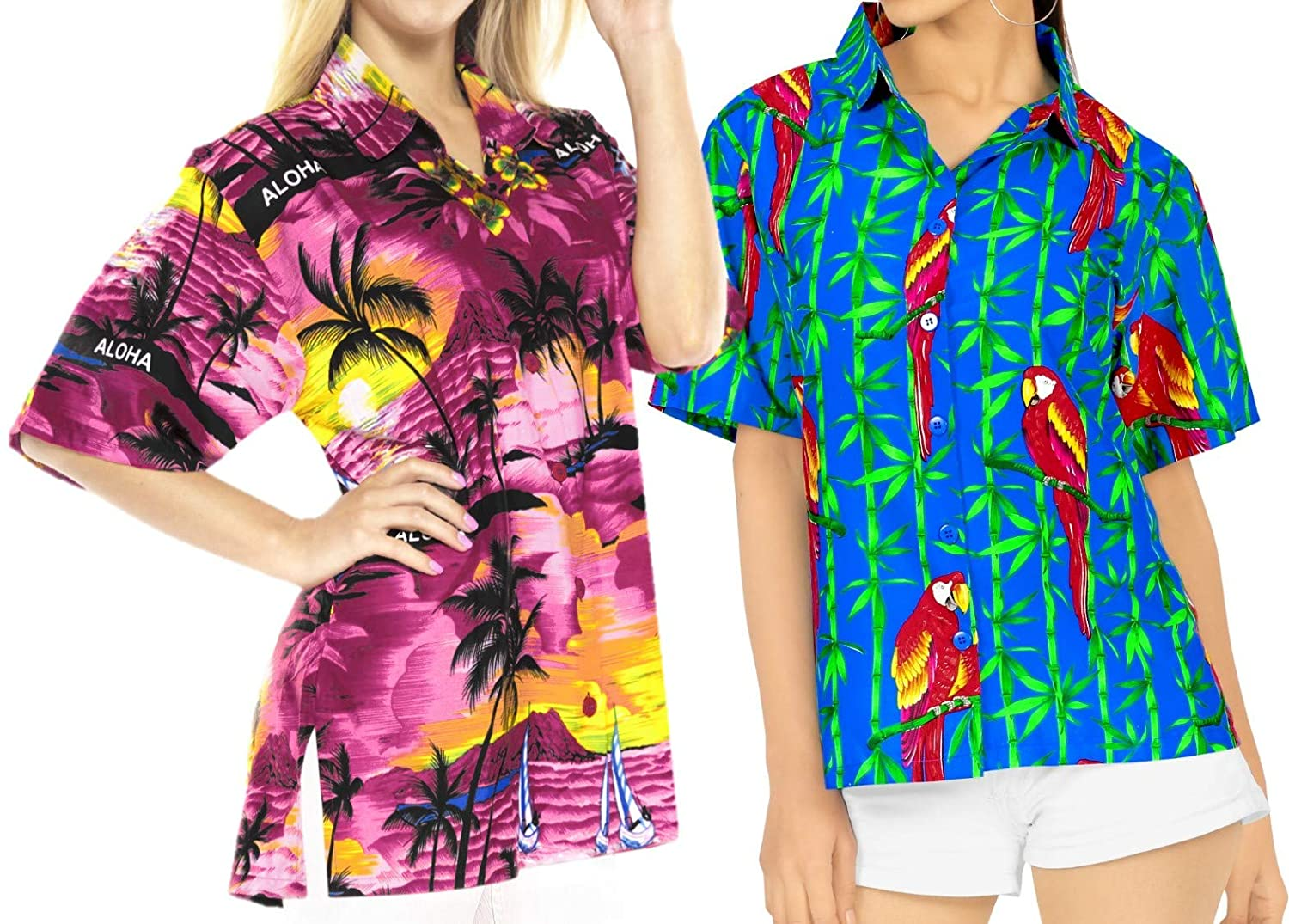 LA LEELA Women's Swim Hawaiian Shirt Tank Tunic Blouse Tops Cover Up L Work from Home Clothes Women Blouse Pack of 2