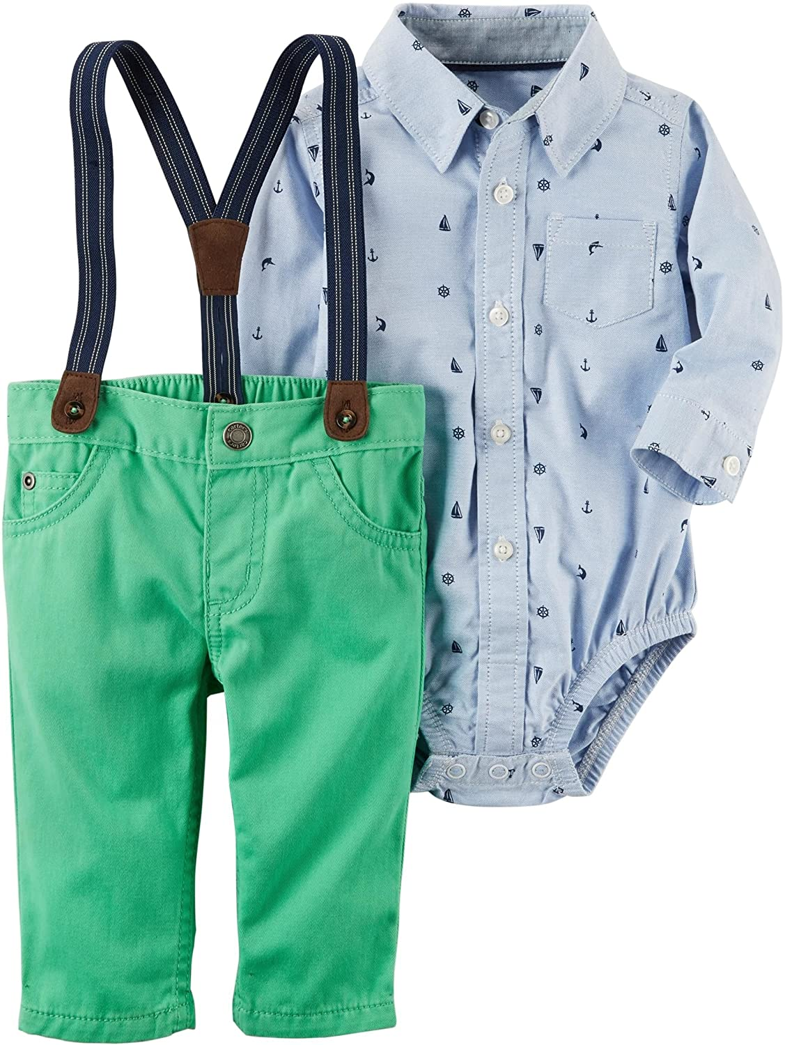 Carter's Baby Boys' Long Sleeve Onesie and Suspender Pants Set 3 Months Blue/Green