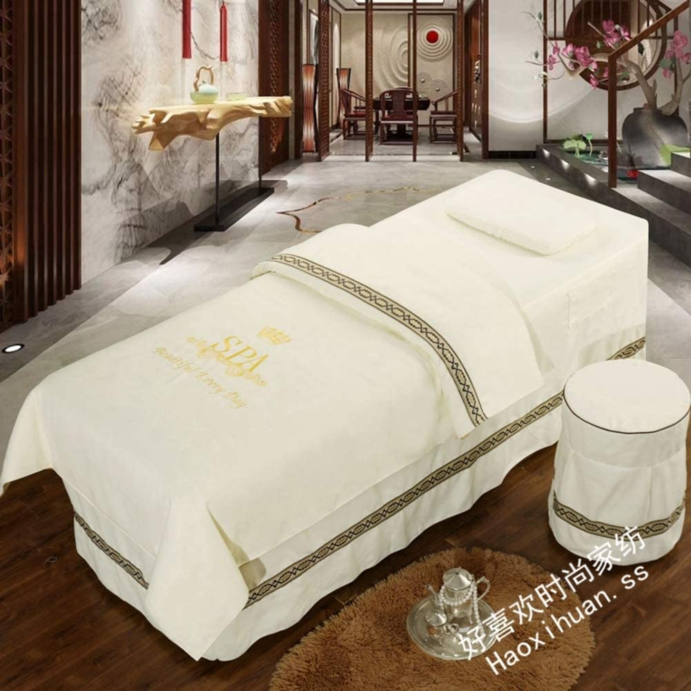 YXLHJ Luxury Beauty Bed Cover 4-Piece,Continental Cotton Massage Table Sheet Sets Bedspreads Bed Cover Beauty Salon Spa Bed Skirt Sheet with Hole-j 70x190cm(28x75inch)