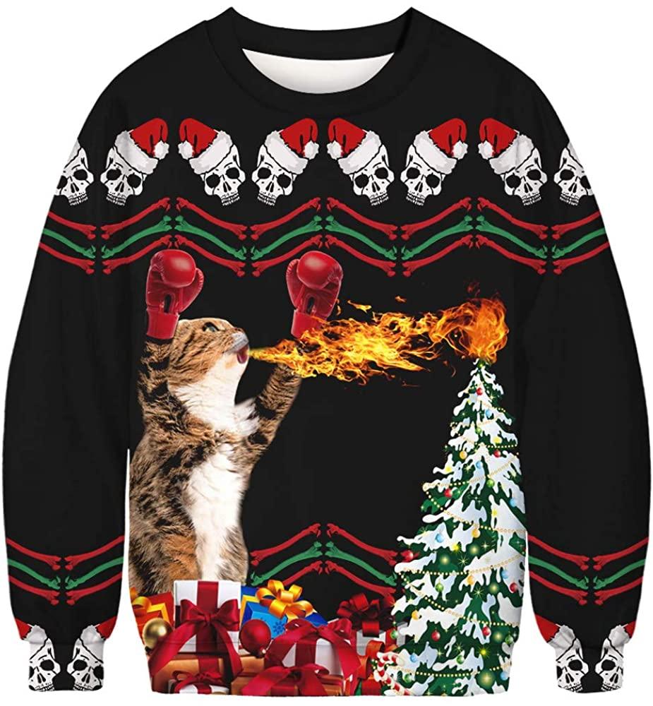 Apiidoo Ugly Christmas Sweatshirt Xmas Funny 3D Printed Cat T-Rex Trump Pullover