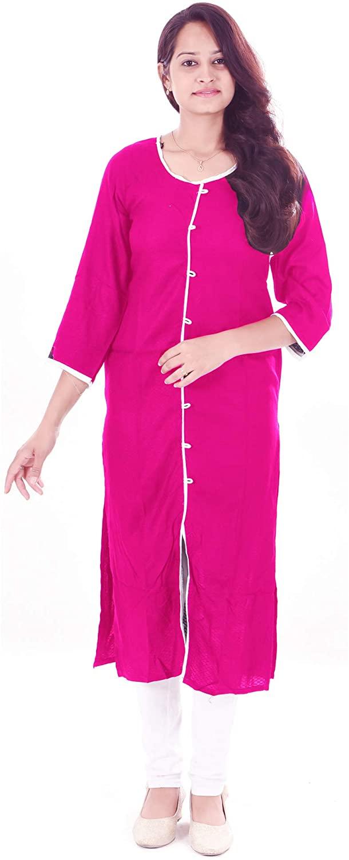 Lakkar haveli Women's Long Kurti Indian Casual Cotton Frock Suit Pink Color Plus Size Girl's Maxi Gown Dress