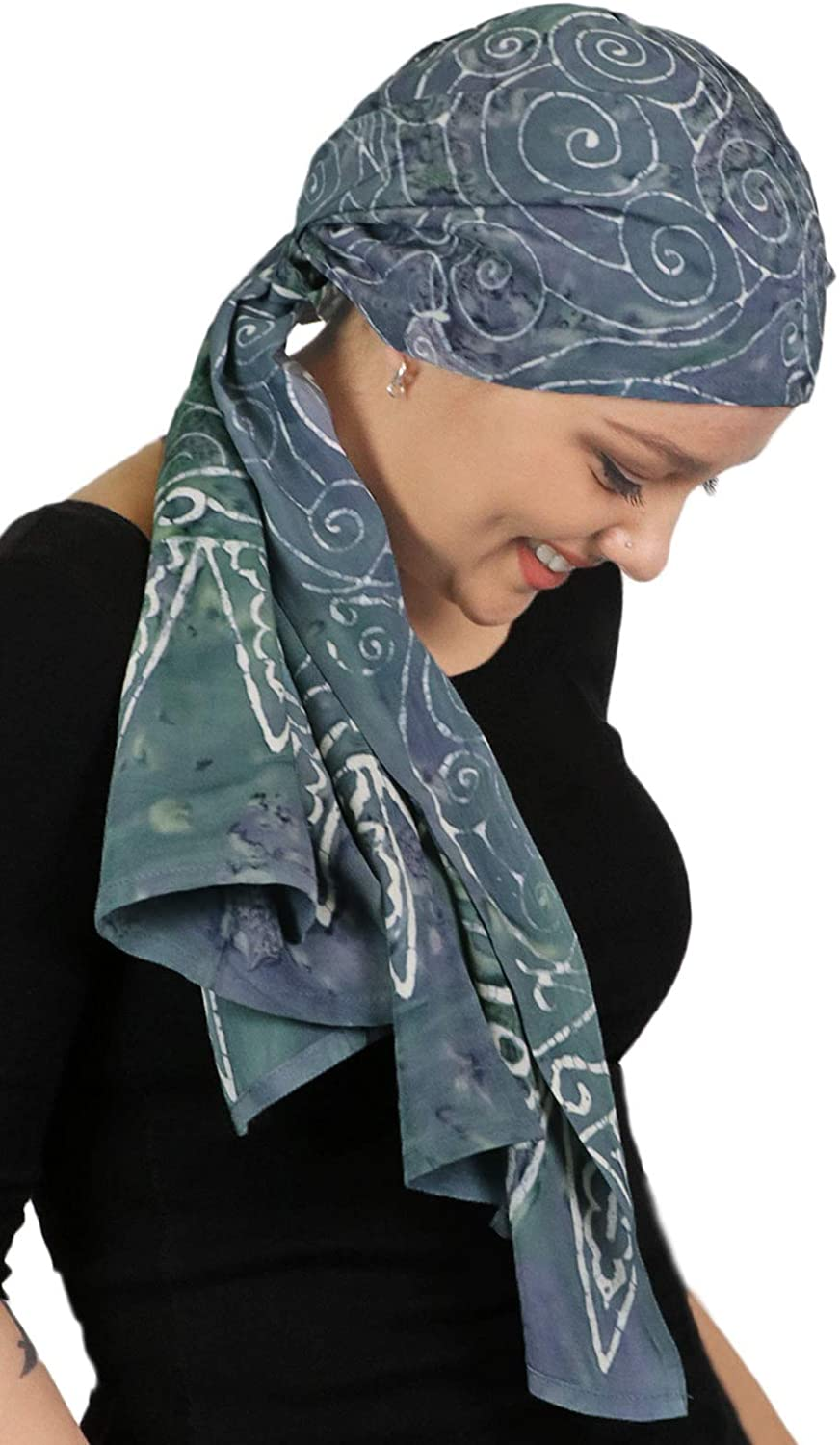 Head Scarf for Women Cancer Headwear Chemo Scarves Headscarves Headcovers 15 X 60 (Grey Swirl)