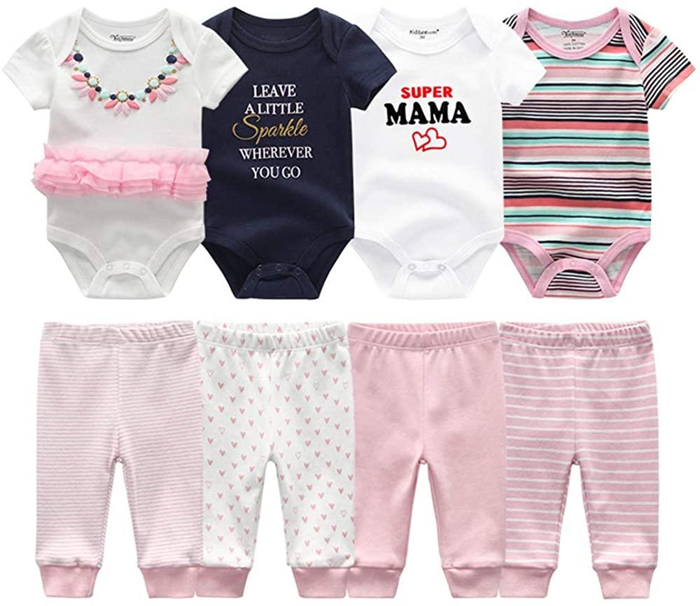 Kiddiezoom Baby Boys Girls 4-Piece Short-Sleeve Bodysuits 4-Pack Pants Set (A Free White Bodysuits)