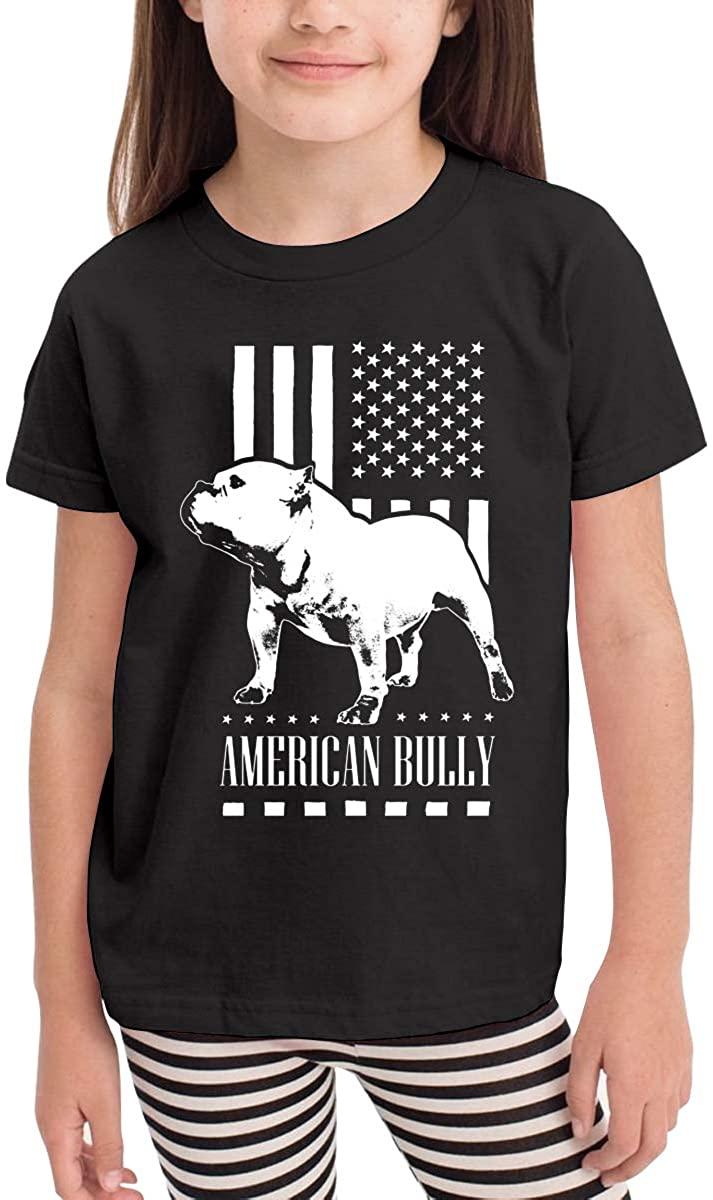LINGMEI Children's T-Shirt American Flag Bully Kids Boys and Girls Short-Sleeved Shirt