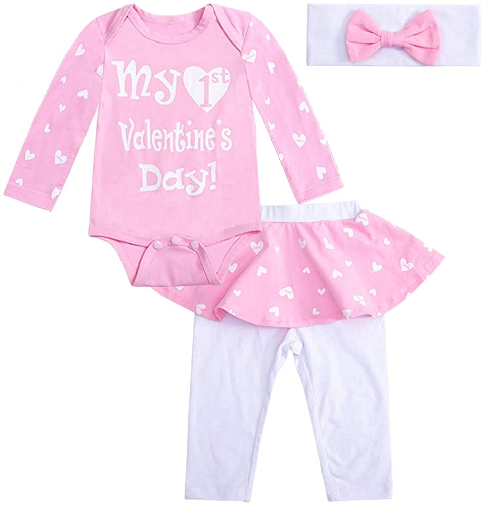 Newborn Infant Baby Girls My First Valentine's Day Skirt Cute Romper Top Pants Clothes Outfit Set